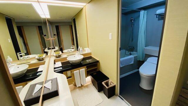 ザプリンス京都宝ヶ池オートグラフコレクションホテルの洗面台とバスルーム